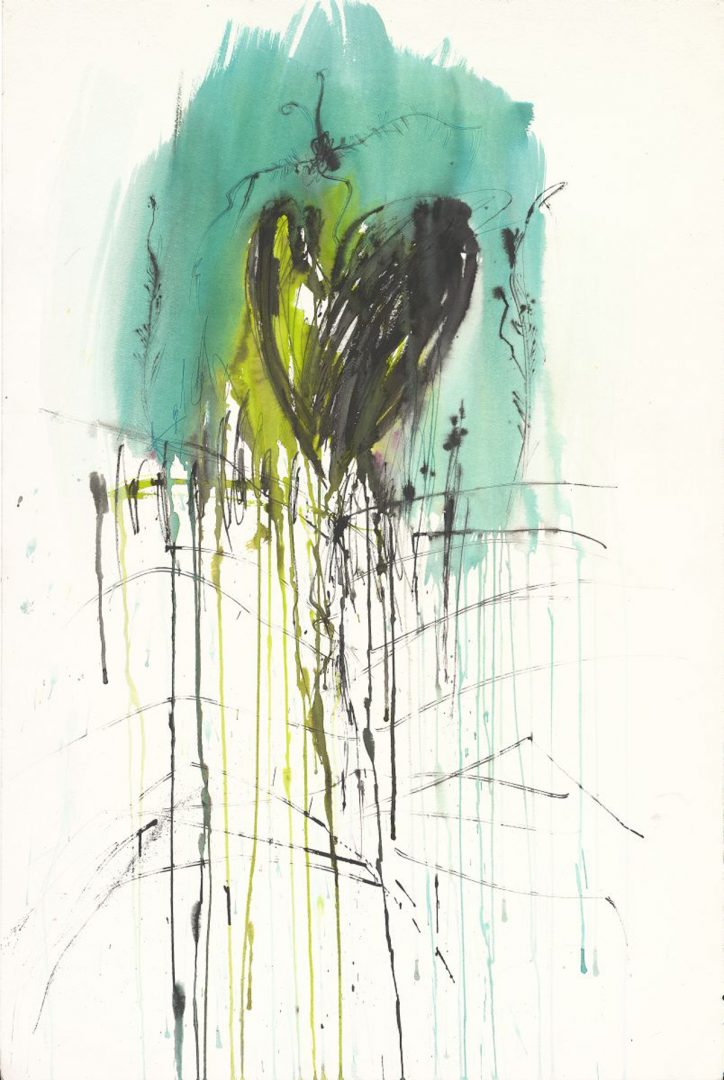 Heart takes off<br /> Ink & acrylic on paper<br /> 90X70 cm