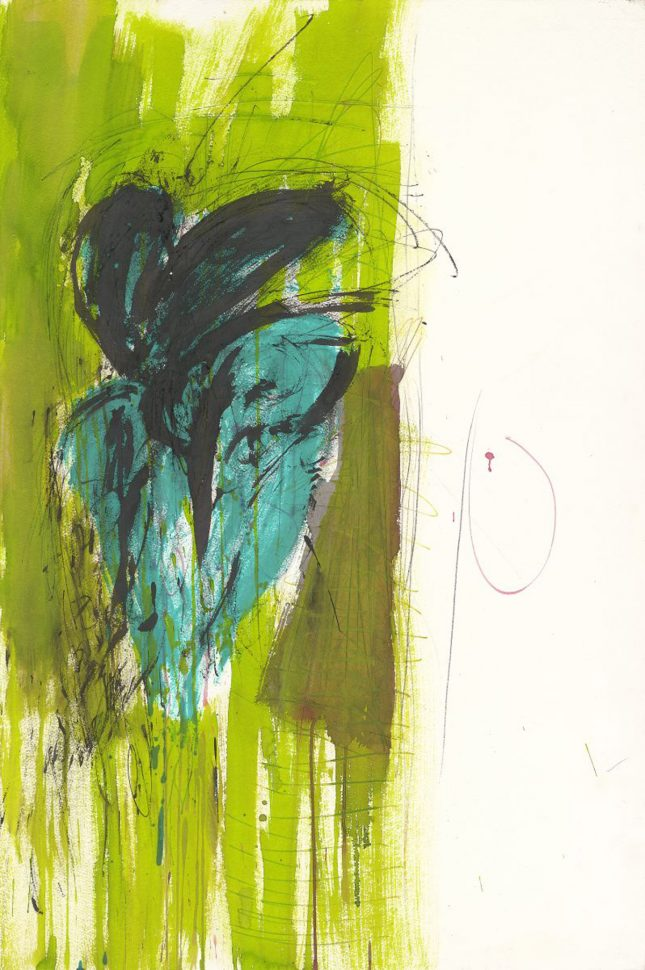 Double heart<br /> Ink & acrylic on paper<br /> 90X70 cm